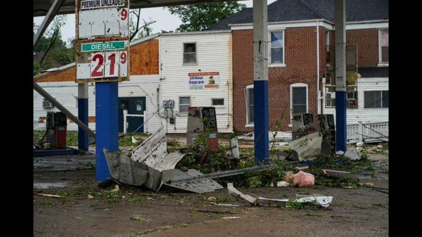 Gas station damaged by tornado